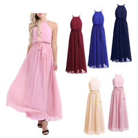 Women's Halter Wedding Formal Party Bridesmaid Long Maxi Dress Evening Cocktail