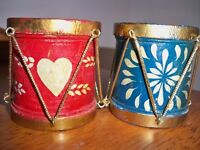 Midwest Importers of Cannon Falls Holiday Wooden Drum Candle Holders Red & Blue