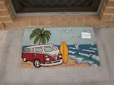 Red Kombi Surf Scene - Natural Coir on PVC Backing Door Mat or Wall Art