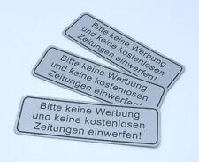 """3x Hinweisschild Aufkleber Silber """" Bitte keine Werbung & Zeitungen """" Wetterfest"""