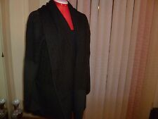 NWT ST.JOHN Knit Open Front Jacket/Cardigan Large Shawl Collar Charcoal XL to 2X