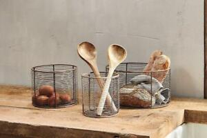 Round Aged Brass Wire Basket Bowls, Rustic Storage Fruit Veg Bread Nkuku Inkollu