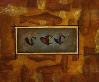 Gemälde - Fische Angel Haken - handgemalt Leinwand Acryl Malerei modern naiv