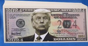 WHOLESALE LOT OF 100 DONALD TRUMP 2024 NOVELTY MONEY President Tie Photo USD US