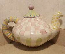 Mackenzie Childs Ceramic Teapot Excellent Condition Stamped 1998 Mackenzie Child