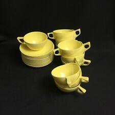 Set of Twelve (12) Stetson Melmac Yellow Coffee Cups & Saucers EUC