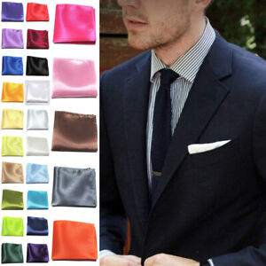 Mens Solid Color Silk Handkerchief Pocket Square Hanky Wedding Party Suit Hanky