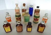 Vintage Medicine Bottle Collection 13 Pc Lot Alum Sweet Oil Nitre Benzine Bromo