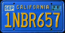 """CALIFORNIA """" BLUE 1NBR657 """" DISCONTINUED """" 1987 VINTAGE Classic CA License Plate"""