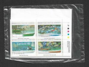 1989 Canada - Small Craft - Sealed Set Matched Sheet Corner Blocks - MNH.