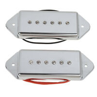 P90 Soapbar Neck and Bridge Pickups Set for Electric Guitar Parts Dog Ear Chrome