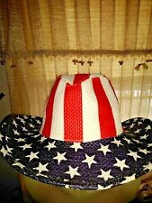 BLOW OUT SALE @ LUCKY 7 USA Stars & Stripes Cowboy Hat Womens July 4th + ❤️ts17j