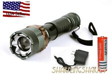 2000LM  LED Rechargeable Flashlight Torch 18650 Battery  Charger