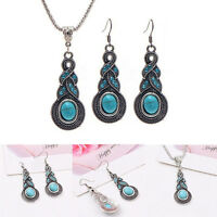 Jewelry Set Choker Necklace Earrings Set Blue Crystal Pendant Turquoise