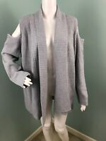 NWT Women's Neiman Marcus Gray Cold Shoulder Cardigan Sweater Sz XL