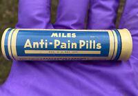 Vintage 1930s-40s Miles Anti-Pain Pills Round Medicine Tin Elkhart Indiana