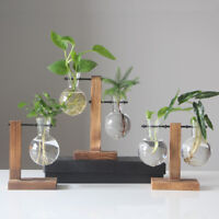 KQ_ Wood Stand Frame Glass Bottle Clear Plant Vase Pot Terrarium Desktop Decor N