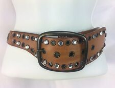 Gap Jeans 1969 Leather Belt M 34 Metal Grommets Large Rhinestones Frame Buckle