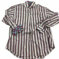 Thomas Dean Long Sleeve Multi Stripes Flip Contrast Cuff Button Shirt Men's XL