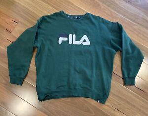 Mens Fila Jumper Green - Cotton Blend Logo - Size Large