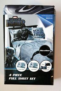 Marvel Black Panther 4 Piece Full Sheet Set (New)