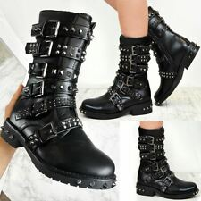 Womens Studded Spiked Biker Ankle Boots Flat Punk Rock Grunge Chunky Winter Size