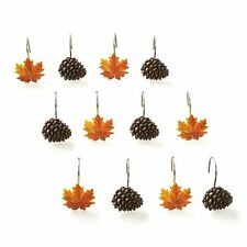 Autumn Forest Shower Hooks with Pine Cones, Maple Leaves for Curtains - 12 Pcs.