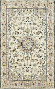Fine Nain 5'x8' Ivory/Tan Wool Hand-Knotted Oriental Rug