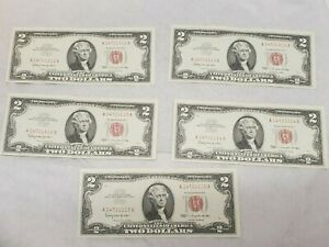 1963 (5) Five Consecutive Red Seal Two Dollar Notes CRISP UNC