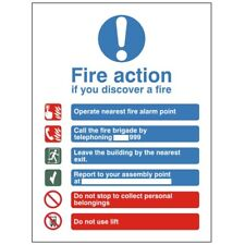Fire Action Notice Sign 150mm x 200mm Rigid Plastic (ACT-15W)
