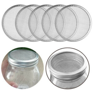 5pcs Stainless Steel Sprouting Lid 70/86mm Mason Jar Mesh Screen Strainer Filter