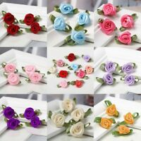 100pcs Mini Satin Ribbon Flowers Rose Leaf Wedding Decor Sewing Appliques DIY