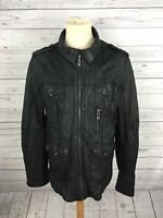 Men's River Island Leather Jacket - Large - Black - Great Condition