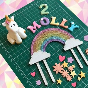 Edible Unicorn Cake Topper Rainbow Handmade Decoration Gold Birthday Girl Boy