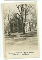 RPPC Benton County Courthouse FOWLER IN Indiana Real Photo Postcard