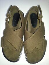 NEW MARNI Olive Green Wool Heavy Felt Sandals Platform Shoes Flats Sz 41