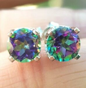 2.06ct Natural Green Mystic Topaz Solid 14K White Gold Stud Earrings Push Back