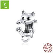 Women 925 Sterling Silver Playful kitty Charms Bead Fit Bracelet & Necklace