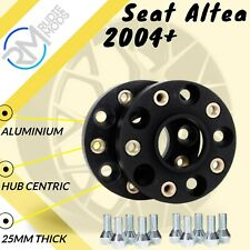 BLACK Seat Altea 2004 Onwards 5x112 57.1 25mm ALLOY Hubcentric Wheel Spacers