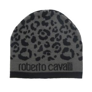 Roberto Cavalli  ESZ031 05001 Black/Grey Leopard Beanie Hat