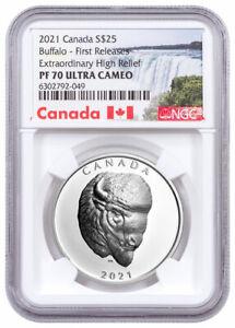 2021 Canada Buffalo Extraordinary High Relief 1 oz Silver $25 NGC PF70 UC FR