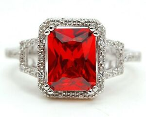 4CT Ruby & White Topaz 925 Sterling Silver Ring Jewelry Sz 8 CO3