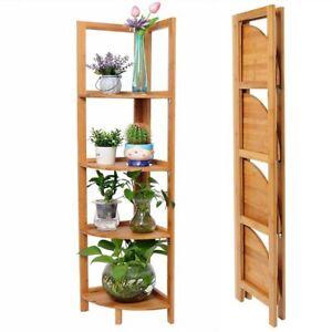Libreria Scaffale Angolare Pieghevole 4 Ripiani Legno Bambu Mobile Angoliera