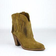 $890 YSL Saint Laurent Women's Tan Suede Leather Cowboy Boots 35 441480 9848