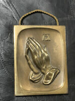 "Vintage Solid Brass PRAYING HANDS Wall Decoration Plaque. 4.25"" x 3.25"""