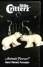 Nature's Jewelry Handpainted Porcelain Polar Bear Earrings