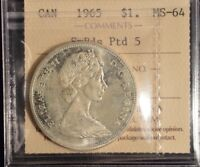 1965 Canada Dollar  -  Graded - ICCS MS64 Small Beads, Pointed 5