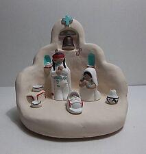 Vintage 1990 CLEO TEISSEDRE Pottery NATIVITY CRECHE Southwest Adobe SIGNED