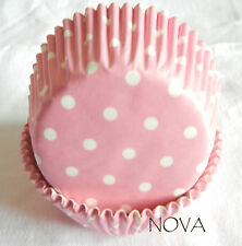 50 white small dot pink cupcake liners baking paper cup muffin cases 50x30mm