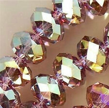 600PC Purple Multicolor Crystal Faceted Gems Loose Beads 4*6mm
